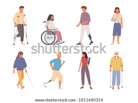 People with disabilities set. Man on crutches with injured leg girl modern wheelchair male characters run leg prostheses blind woman with glasses walks stick. Healthcare cartoon vector. Stock photo ©