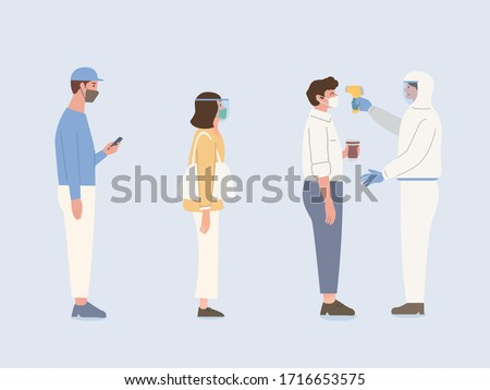 People with face mask and face shield stand in line for waiting body temperature check from Staff by Infrared Thermometer. Illustration about protection about virus spreading.