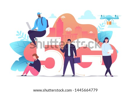 People with gadgets use high-speed Internet vector illustration. 5G network wireless technology. Small characters near big 5G sign. Flat cartoon style. Concept for your design. Eps 10