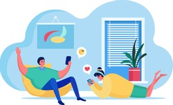 People with gadgets vector illustration. Cartoon flat happy woman man character using smartphone app for social media activity, young couple or friends spending time together at home isolated on white