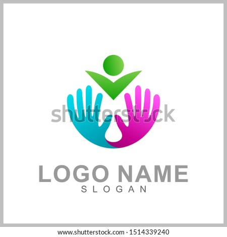 People with hand logo template, family care, human social relation, healthy access