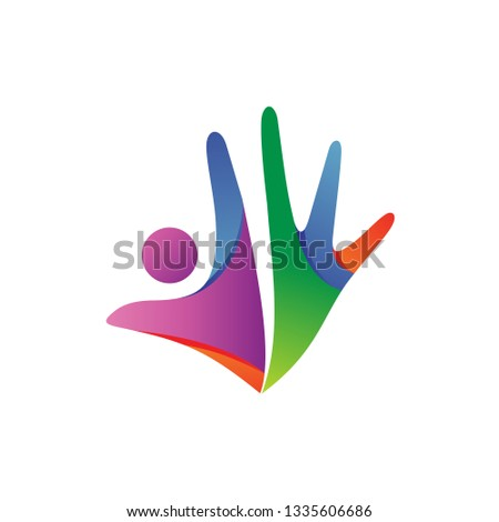 People With Hand Shape Logo Vector