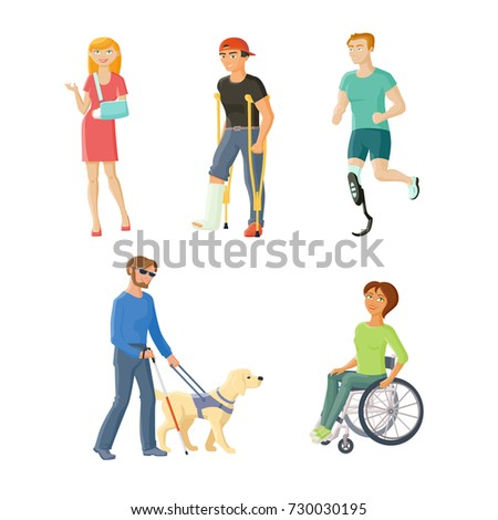 People with injures and disabilities - wheelchair, blindness, broken arm and leg, artificial limb, flat cartoon vector illustration isolated on white background. People with traumas and disabilities Foto stock ©