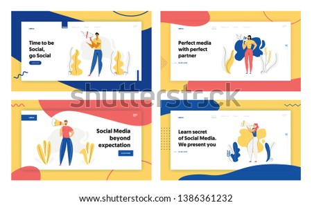 People with Megaphone Advertising Concept Banner. Male Character Promoting with Loudspeaker. Social Media Advertisement Marketing Sale Campaign Landing Page Website. Vector flat cartoon illustration
