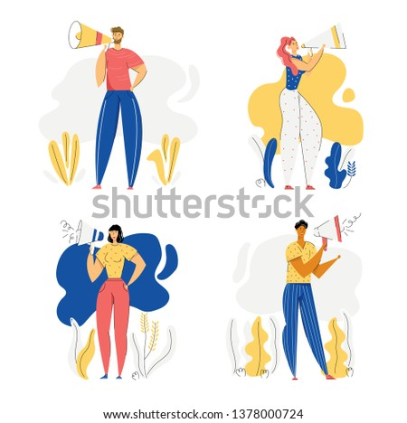 People with Megaphone Advertising Concept. Male and Female Characters Promoting with Loudspeaker. Advertisement Marketing Sale Campaign. Vector flat cartoon illustration