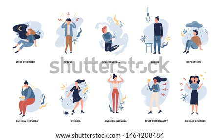 People with mental disorder set. Collection of psychiatric problem. Depression and phobia, anorexia and bipolar disorder. Isolated vector illustration in flat style