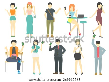 people with mobile device set