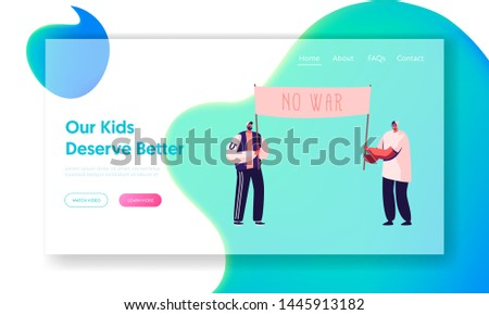 People with Placards and Signboard Protesting against War on Strike or Demonstration, Activist with Signs Protest, Riot, Picket Website Landing Page, Web Page. Cartoon Flat Vector Illustration, Banner