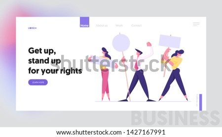 People with Placards on Demonstration, Holiday, Celebration, Festivity Holding Empty Vote Signs. Voting, Protesting Citizen Website Landing Page, Web Page. Cartoon Flat Vector Illustration, Banner