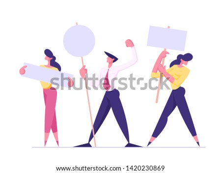 People with Placards on Demonstration, Holiday, Celebration, Festivity, Male and Female Characters Holding Empty Vote Banners and Signs. Voting, Protesting Citizen Cartoon Flat Vector Illustration