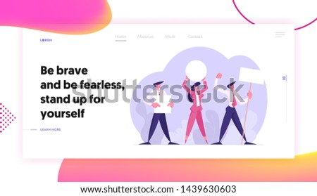 People with Placards on Demonstration, Strike, Characters Holding Empty Vote Banners and Signs. Voting, Protesting Citizen Website Landing Page, Web Page. Cartoon Flat Vector Illustration, Banner