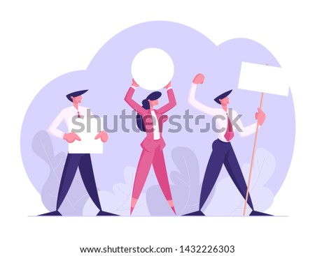 People with Placards on Demonstration, Strike, Holiday Celebration, Festivity, Male Female Characters Holding Empty Vote Banners and Signs. Voting, Protesting Citizen Cartoon Flat Vector Illustration