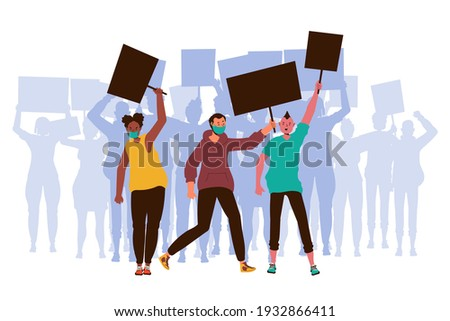 People with placards. Protest. People crowd holding blank banners, manifesting activists demonstrating empty signs. Street demonstration,  placard protester, political revolution, demonstrate. Vector.