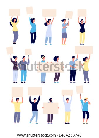 People with placards. Protesters holding blank banners, protesting persons activists with empty signs vector isolated characters. Activist banners protest meeting, demonstration board illustration
