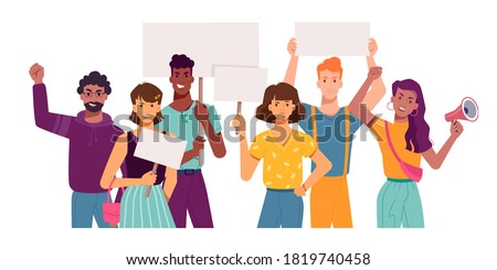 People with protest placards and banners, holding signs in hands, vector flat cartoon. Angry protesters and activists on strike demonstration or manifestation with blank banner placards and megaphone Stock photo ©