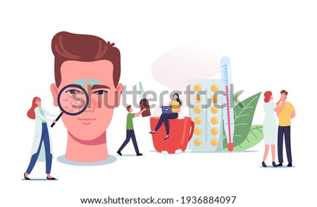 People with Sinusitis Disease Concept. Tiny Doctors or Patients Characters at Huge Male Head with Sinus Cavity Inflammation due to Influenza Cold, Allergy, Nasal Infection. Cartoon Vector Illustration Foto stock ©