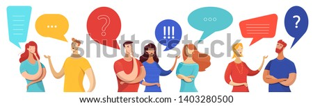 People with speech bubbles vector characters set. Cartoon men, women asking, answering questions. Young couple sharing impressions, talking to friends, colleagues. Emotional conversation with partners