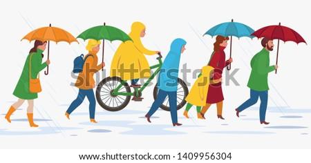 people with umbrella  walking