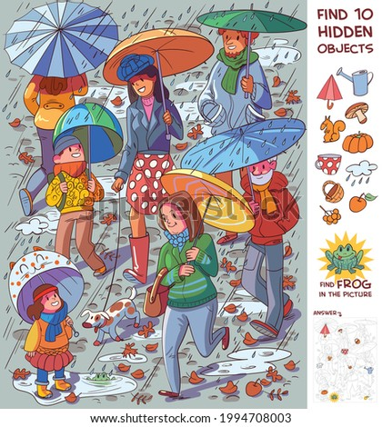 People with umbrellas in the rain. Find 10 hidden objects in the picture. Puzzle Hidden Items. Funny cartoon character. Vector illustration
