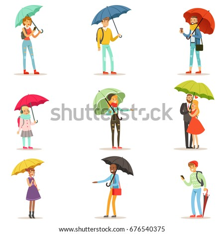 people with umbrellas smiling