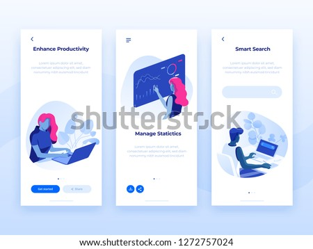 People work and interacting with graphs and devices. Data analysis and office situations. 3D Isometric vector illustrations. Mobile application templates.