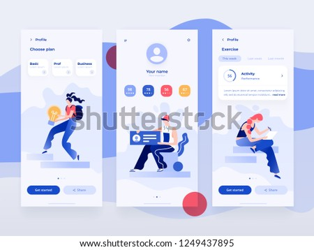 People work and interacting with graphs, shapes and devices. Data analysis and office situations. Flat vector illustration. Mobile application template.