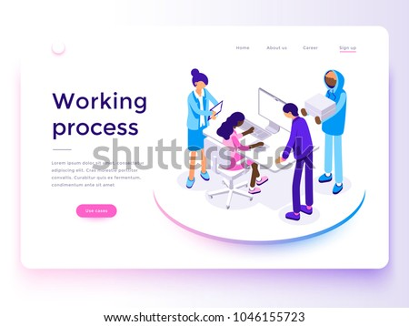 People work in a team and achieve the goal. Business processes and office situations. Landing page template. 3d vector isometric illustration.
