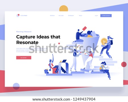 People work in a team and generate ideas while interacting with graphs and shapes. Data analysis and office situations. Flat vector illustration. Landing page template.
