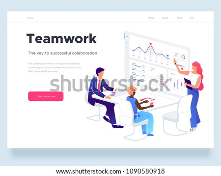 People work in a team and interact with graphs. Business, workflow management and office situations. Landing page template. 3d vector isometric illustration. - Shutterstock ID 1090580918