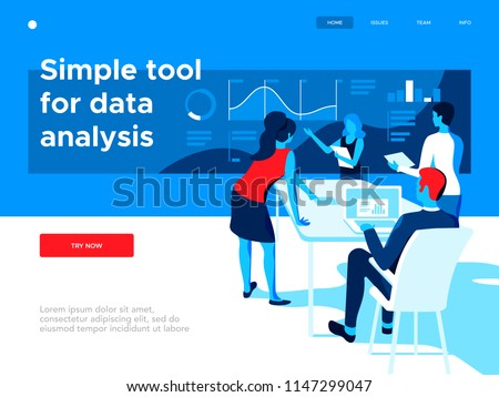 People work in a team and interact with graphs. Business, workflow management and office situations. Creative web page design template. 3d vector isometric illustration.