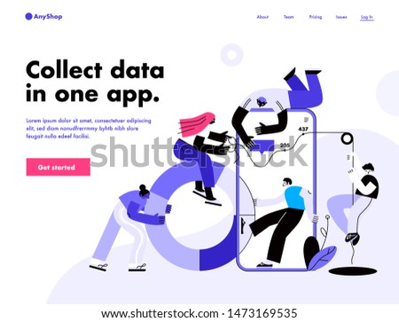 People work in a team, build a dashboard and interact with graphs. Data analysis, and office situations. Landing page template. Vector illustration