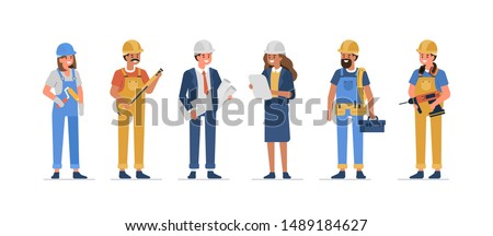 People work in Construction Industry. Architecture Engineers and Builder Workers Standing Together. Male and Female Characters with Professional Tools. Flat Cartoon Vector Illustration isolated.