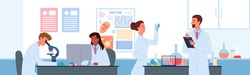 People work in vaccine development science laboratory vector illustration. Cartoon men and women scientist characters develop vaccine for coronavirus, holding lab analysis in test tube flat background.