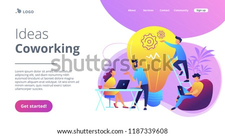 People working in friendly open space workplace. Coworking, freelance, teamwork, communication, interaction, idea, independent activity concept, violet palette. Website landing web page template.
