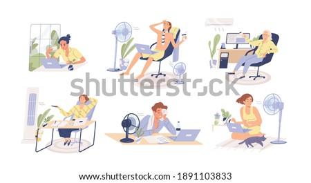 people working in heat  using