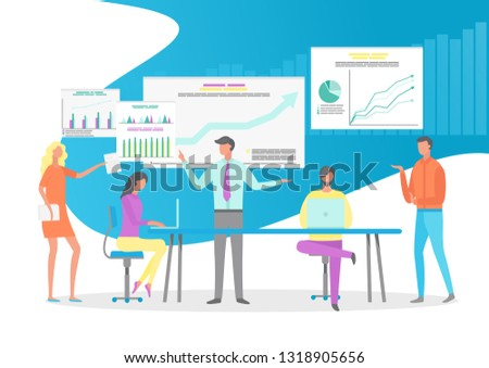 People working in office vector, boss talking to colleagues, meeting of workers. Infocharts and infographics on whiteboard, laptops and computer digital