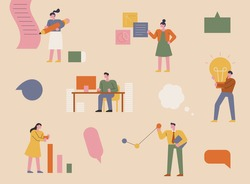 People working in the office. Simple shapes of characters. flat design style minimal vector illustration.