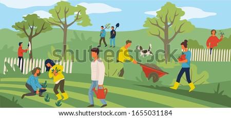 people working in yard
