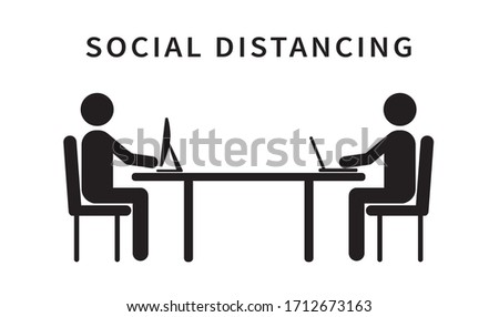 People working on laptops. Social distancing. Keep the 2 meter distance. Coronovirus epidemic protective. Vector illustration