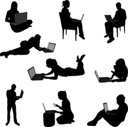 people working on their laptops silhouettes