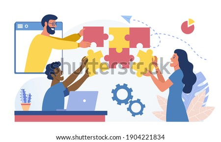 People working together. Abstract concept of joint teamwork, business team building symbol. Workflow, teamwork, cooperation, partnership. Flat cartoon vector illustration isolated on white background