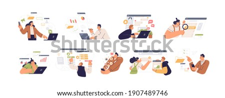 People working with big data, analyzing and auditing business processes. Online communication, analytics, management and multitasking. Colored flat vector illustration isolated on white background