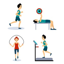 People Workouts Set. Vector Illustration Collection Flat style