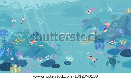 peoples diving under the ocean illustration. coral reef and fish on a blue sea background. Vector seascape