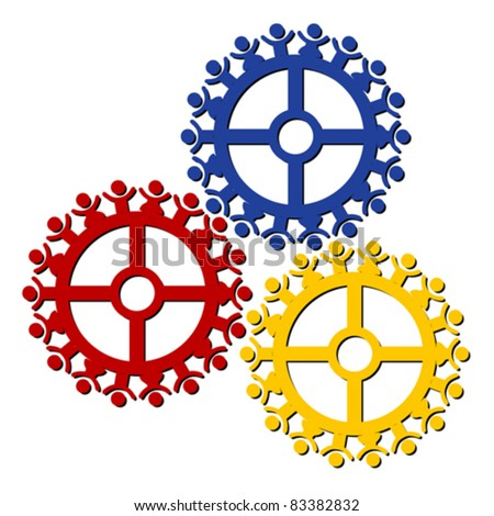peoples gears turn in unison, symbolizing teamwork and synergy