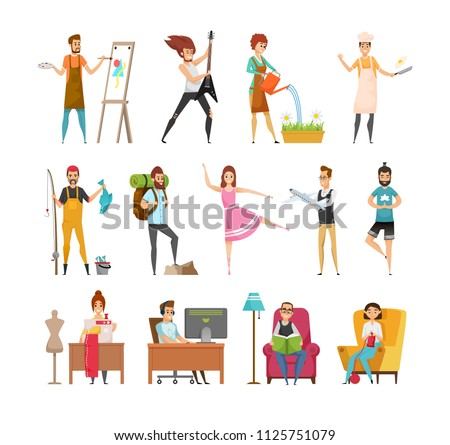Peoples hobbies variety. Dress maker and artist painting picture. Musician playing guitar, woman watering plants and cook with food vector illustration