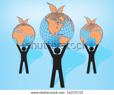 Peoples holding Earth globes