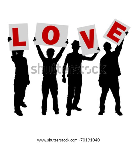 Peoples holding love message sign