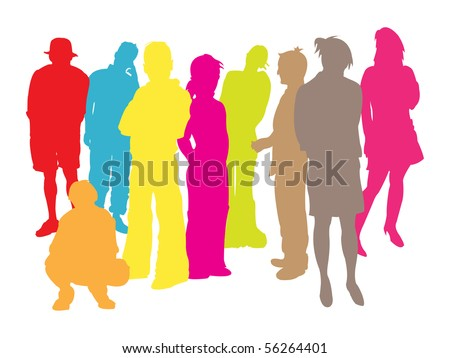Peoples in coloured silhouettes.