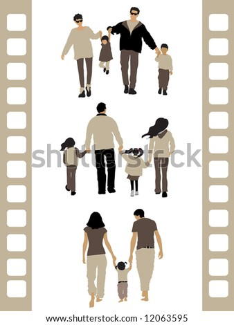 Peoples silhouette: 3 family